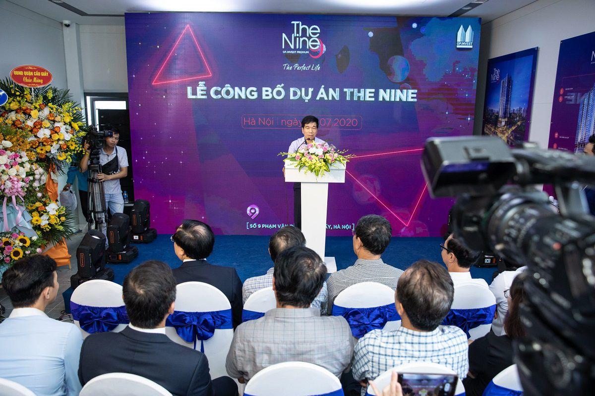 Chủ tich GP.INVEST - ông Nguyễn Quốc Hiệp phát biểu công bố dự án The Nine