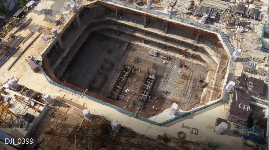 Công trường The Nine trong giai đoạn thi công tầng hầm